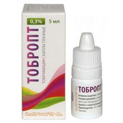 Tobropt eye drops 0.3% 5ml Tobramycin buy antibiotic of the aminoglycoside group
