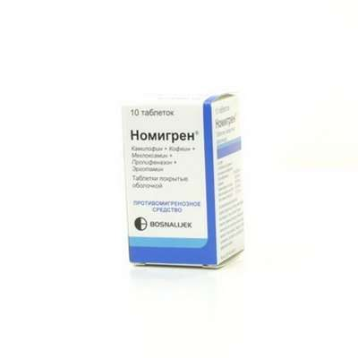Nomigren 10 pills buy anti-migraine, antispasmodic analgesic effect