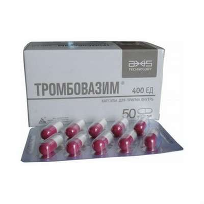Trombovazim 400 ED 50 pills buy increases the fibrinolytic activity of the blood
